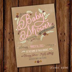Floral Baby Shower Invitation  Pink Vintage Baby by ScriptivaPaper