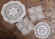 Vintage Swedish Crochet Coasters Doilies Set of 4, White Assorted Trivets, Small Handmade Tablecloths, Scandinavian Christmas Decor by LittleRetronome