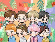 Kpop Exo, Exo Kokobop, Chanyeol Baekhyun, Exo Memes, Exo Cartoon, Exo Stickers, Exo Anime, Ko Ko Bop, Exo Fan Art