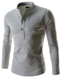 LS Henley w/ Collar Light Gray
