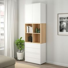 EKET Storage combination with feet - white, white stained oak effect - IKEA 27 83 center or across Color : white/natural wood or white/gray with oak cabinets vinyl EKET Storage combination with feet - white, white stained oak effect - IKEA Ikea Eket, Muebles Living, Painted Drawers, White Stain, Oak Cabinets, New Furniture, Shelving, White White, Home Decor
