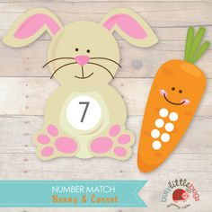 Busy Little Bugs Bunny & Carrot Number Match. A great early maths game for Pre - K years.