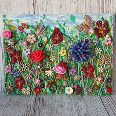 mixed media art Summer Meadow Collage Mixed M - art Costume Jewelry Crafts, Vintage Jewelry Crafts, Jewelry Art, Vintage Jewellery, Glitter Art, Button Crafts, Button Art Projects, Hanging Art, Diy Art