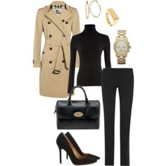 Trench coat + black chic