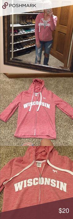 NEW PINK Wisconsin Zip Up New- 2016 Wisconsin PINK zip up- extra small PINK Victoria's Secret Tops Sweatshirts & Hoodies