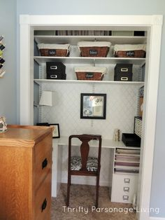 Office in a closet - already have shelves/brackets