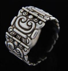 Bracelet | Los Castillo.  Sterling silver.  c. 1940. Pre Columbian Design.