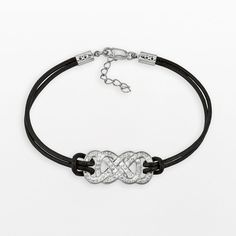 Yours for Infinity Silver-Plated Crystal Double Infinity Leather... ($60) ❤ liked on Polyvore featuring jewelry, bracelets, black, leather cord bracelet, infinity bracelet, pandora bracelet, black bracelet e jade bangle