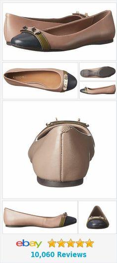 e58061f3b4e3 Coach A00084 Merilyn Black Gunmetal Colorblock Leather Ballet Flat Size 9.5  for sale online