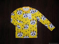Купить Лонгслив Панды на желтом - желтый, панды, панда, лонгслив, индейцы, одежда на заказ