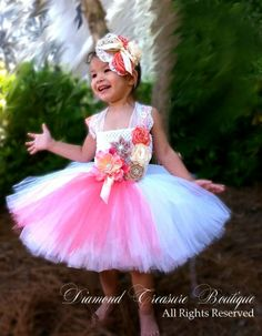 Vintage style made with fresh white tulle. Coral, burlap, and cream flower girl tutu dress now available at www.diamondtreasureboutique.com
