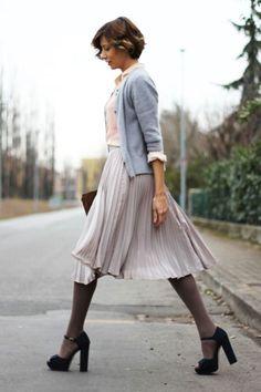 oxford, cardi, midi pleated skirt, greige tights, black peep toe platforms