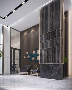 Residential lobby on Behance Hotel Lobby Design, Elevator Lobby Design, Medical Office Design, Office Interior Design, Cladding Design, Column Design, Wall Decor Design, Landscape Walls, Decoration