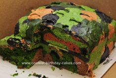 Homemade Camo Cake Design: I wanted to try to make a camouflage cake for my son's 8th birthday party and it was actually some of the cakes from THIS SITE that convinced me I might @Ashley Brumitt