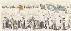 J. Hermans   Deel van de begrafenisstoet van Ernst Casimir, graaf van Nassau-Dietz te Leeuwarden (plaat 5), 1633, J. Hermans, Jelle Reyners, Claude Fonteyne, 1634   Deel van de begrafenisstoet met een paard en vaandeldragers. Bovenin de namen van de afgebeelde personen. Plaat nr. 5 in de prentserie van de begrafenis van Ernst Casimir, graaf van Nassau-Dietz te Leeuwarden, 3 januari 1633. De wapens en vaandels zijn ingekleurd. Dit blad samen met bladen 6, 7 en 8 aan elkaar geplakt.