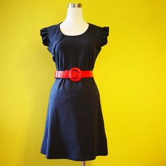 Dainty Indigo Blue Ruffle Cotton Dress. Great for day and evening, this dress is a must have for every girl. It is made of cotton with a slight stretch, and is great for summer. This dress can be custom made to your size.  [ TO ORDER ] – No Extra Charge For Plus Size