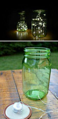 Firefly Mason Jar Lights | 25 DIY Winter Wedding Ideas on a Budget | DIY Winter Wedding Decorations