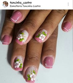 Nail Art Diy, Diy Nails, Mani Pedi, Manicure, Finger, Nail Arts, Spring Nails, Flower Designs, Nail Designs