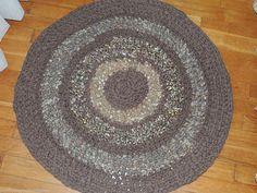 "Hand Made Crochet Rag Rug ~NEW 32"" CHOCOLATE ~ COUNTRY PRIM SHABBY PERFECT"