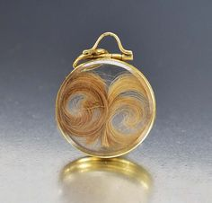 Antique Victorian Glass Gold Locket Mourning Jewelry