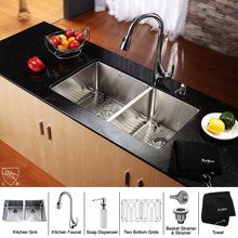 """View the Kraus KHU102-33-KPF1621-KSD30 32-3/4"""" Undermount 50/50 Double Bowl 16 Gauge Stainless Steel Kitchen Sink with Pullout Spray Kitchen Faucet and Soap Dispenser at FaucetDirect.com."""