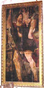 Burgos - Aranda de Duero: En la Iglesia de Santa María, al subir la extraordinaria escalera labrada en piedra que nos lleva hasta el coro, podemos contemplar este cuadro de San Cristóbal de unos 3 m. de altura que podría ser del siglo XVII.