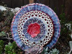 Plate Flower. #253  Drought Resistant.        Garden Yard Art glass and ceramic plate flower