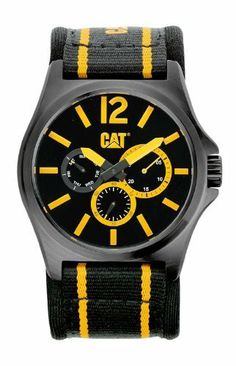 CAT Men's PK16961137 DP XL Analog Watch Caterpillar. $109.93. Water-resistant to 100 M (330 feet). Black and yellow strap. Yellow hands and markers. Black dial. Date. Save 21%!