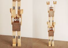Cute robots made out of recycled wood by Alicucio #kids #toys #recycled