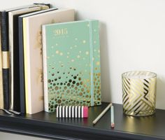 A beautiful Mint Confetti 2015 Planner with lay-flat binding.