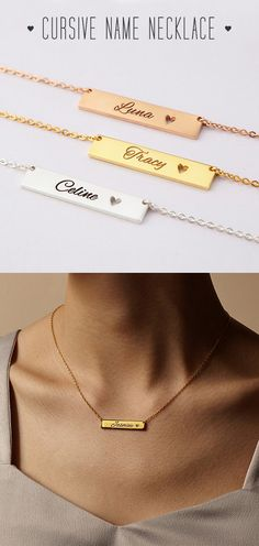 Name Plate Necklace with Heart Cut-out • Cursive Name Necklace • Name Bar Necklace • engraved bar necklace • baby name necklace • rose gold name necklace • personalized name necklace • gold necklace with name • personalised necklaces • engraved necklaces • personalized jewelry  • best christmas gifts for friends • christmas gift for grandma • homemade christmas gifts for her • birthday present ideas • best birthday gifts  for her • christmas presents for kids