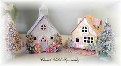 Easter glitter houses