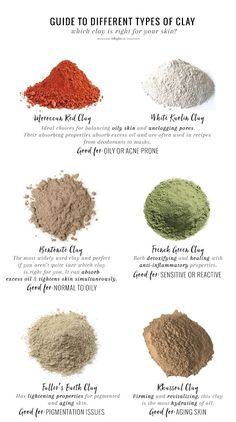 Natural Skin Remedies Choosing the right clay for your skin type is an essential step when you're making your own clay masks and cleansers. This guide will help. Beauty Care, Beauty Skin, Beauty Hacks, Diy Beauty, Beauty Ideas, Face Beauty, Beauty Secrets, Natural Beauty Recipes, Beauty Style