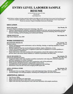 laborer resume entry leveljpg 620800. Resume Example. Resume CV Cover Letter