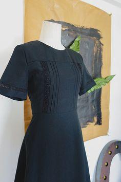 Little BLACK SHIFT dress/ 60s Black LACE detail by chaptervintage, sgd65.00