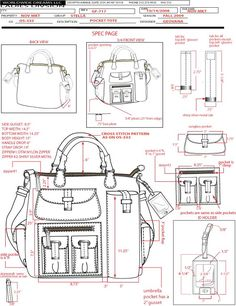 Image result for knit bag technical drawing