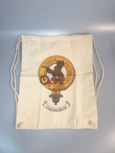 Cotton draw string kit bag with Macgillivray clan crest. Heavy duty material.