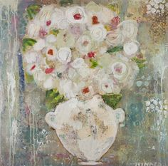 """Hydrangeas in White"" 30x30 Available at Anne Irwin Fine Art 404-467-1200"