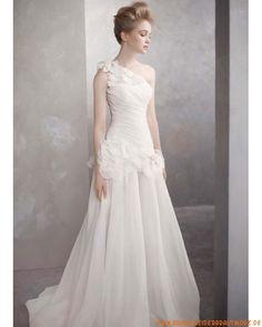 Romantische Brautmode köln kaufen aus Satin mit Tüll A-Linie Einschulter