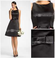 Homecoming Bridesmaid Dress Knee Length Satin A Line Jewel Dress 2015 – $64.99