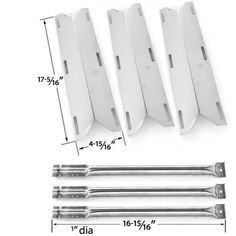 Charmglow Repair Kit include 3 Stainless Steel Burners & 3 Stainless Heat Plates For Charmglow 720-0396, Charmglow 720-0578 Gas Grill Models (3 Pack)