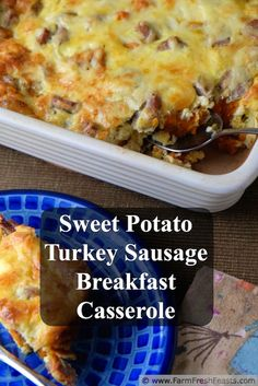 Roasted Sweet Potato, Turkey Sausage, and Gouda Breakfast Casserole. This gluten free casserole comes together quickly and goes straight in the oven--no need to assemble the night before and find room in the fridge. The gouda and turkey sausage come from Costco, the sweet potatoes come from the farm share.