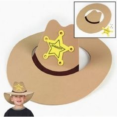So cute for a western theme or working on /k/- could DIY! So cute for a western theme or working … Cowboy Hat Crafts, Western Crafts, Cowboy Hats For Kids, Cowboy Costume Kids, Rodeo Crafts, Wild West Theme, Wild West Party, Wild Wild West Preschool Theme, Cowboy Birthday Party