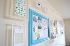 Picture rail reinvented with dignitet wire and metal frames to keep things light. From Sarah Dorsey designs.