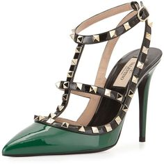 Valentino Rockstud Patent Leather Kitten Heel Green Black Color-block... ($940) ❤ liked on Polyvore featuring shoes, pumps, green, black patent pumps, black kitten heel pumps, black pumps, black strap pumps and pointy toe pumps