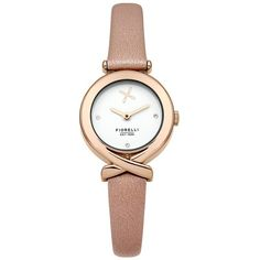 Fiorelli Fine Leather Strap Watch (1 150 ZAR) ❤ liked on Polyvore featuring jewelry, watches, dial watches, white face watches, lipsy, leather-strap watches and rose jewelry