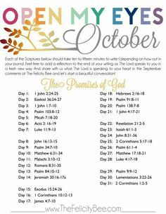 Open My Eyes - October Scripture Writing Plan is here! In this months Bible Study, we are studying THE PROMISES OF GOD and how Gods promises lift us and carry us through our ups and downs! I pray that you join us over at The Felicity Bee as we hear God in Bible Prayers, Bible Scriptures, Bible Quotes, Eye Quotes, Bible Teachings, Faith Bible, Scripture Reading, Scripture Study, Bible Art