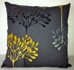 Grey floral cushion cover slip cover throw pillow by miaandstitch, $25.00