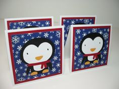 Set of 4 Mini Penguin Cards by debkcreations on Etsy, $3.25