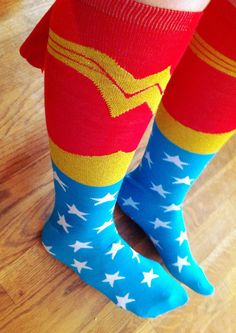 *Too cool. Love em. Thanks for sharing this lovely photo! {Day 40 by booturtle, via Flickr :: wonder woman knee socks with capes} Did anyone else pretend to be Wonder Woman as a little girl? I did.